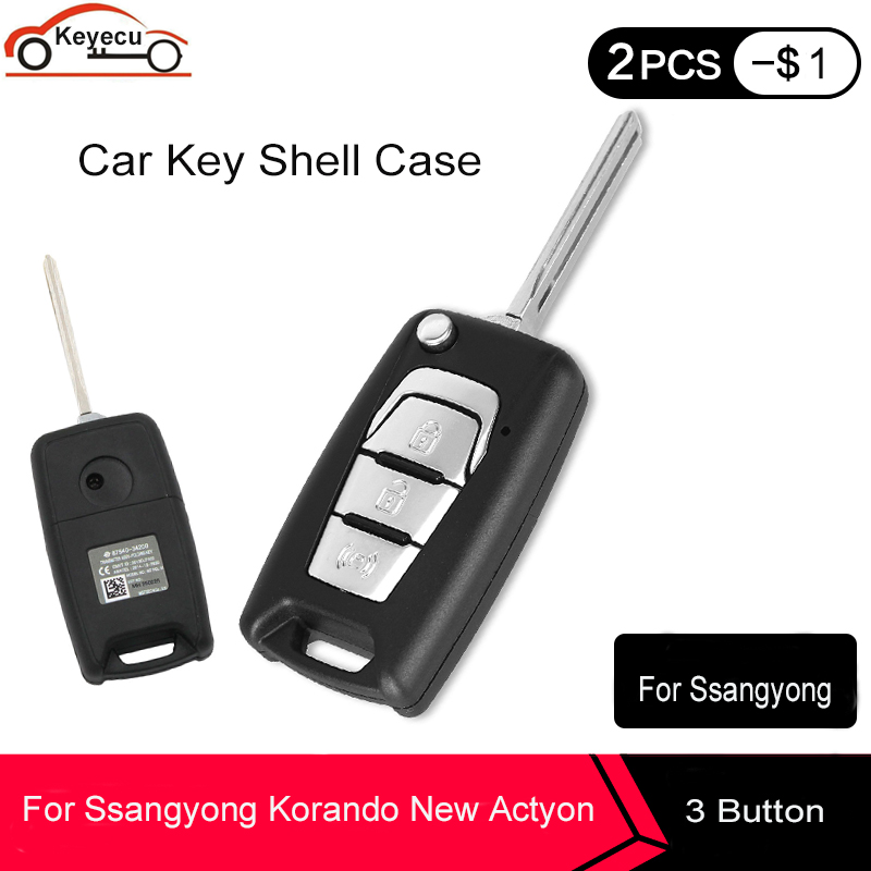 KEYECU 3pcs Arrival Flip Folding Remote Car Key Shell Case Fob 3 Buttons For SsangYong Korando New Actyon C200 2016 2017 Uncut image