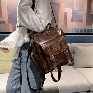 Image 3 - Femmes en cuir PU sac à dos femme mode sac à dos marque concepteur Vintage sac à bandoulière Mochila Escola sac décole sac à dos Mochila