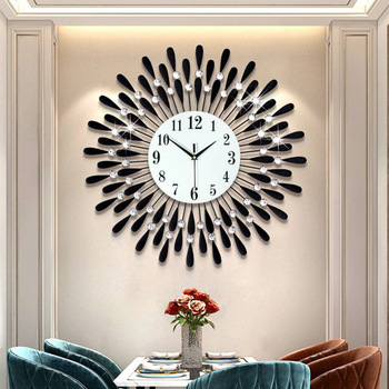 Newly Wall Clock Crystal Sun Modern Style Silent Clocks for Living Room Office Home Decoration digital wall clock 1