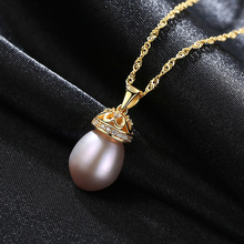 18K Real Gold Necklace New European and American Pure Silver 9-10mm Natural Freshwater Pearl Electroplated