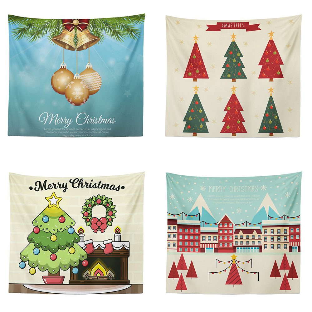 Christmas Tapestry Red Wall Hanging Curtain Beach Towel Christmas Party Tapestries Home Decoration Accessories|Decorative Tapestries| |  - title=