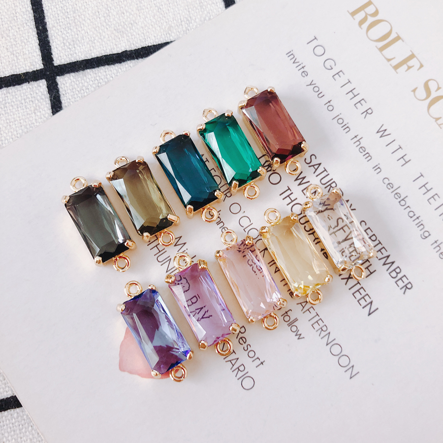 2pieces/lot Alloy Rectangular Double Hole Inlay Stone Earrings Pendant  Material