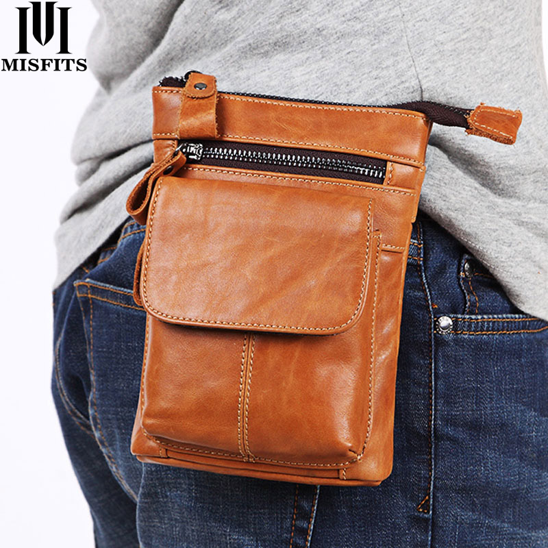 MISFITS Genuine Leather Belt Waist Packs Men Bags Vintage Men Shoulder Crossbody Bag Male Messenger Bags Phone Small Waist Bag