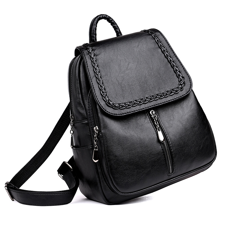 Image 2 - Brand New Female Backpack Women Backpack Leather School Bag Women Fashion Designer Leather Bagpacks for Girls 2018-in Backpacks from Luggage & Bags