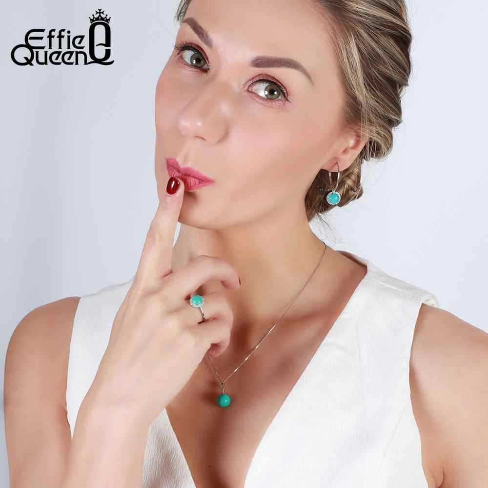 Effie Queen แหวนผู้หญิง 100% เงินแท้ 4 สีหลักหิน AAA เงาเพทายหญิงแหวน Party Fine เครื่องประดับ TSR55