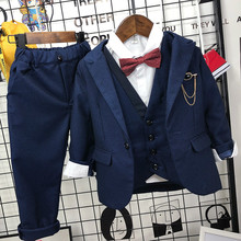 Baby Boy Wedding Clothes Boys Suit Handsome Vest Jacket Pants 3pcs Spring Autumn