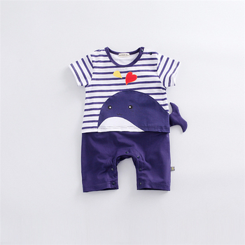 New Baby Rompers Hot Summer New Baby Boys Clothes Cartoon Whale Casual Stripe Short-sleeved Jumpsuit Toddlor Infant Clothing