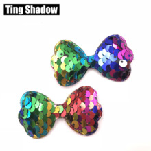 10pcs Glitter Sequins Fabric rabbit Padded Patches Bow sequin pads DIY Crafts Clothes Hats Hairpin Ornament Accessories