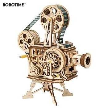Robotime Hand Crank Diy 3D Film Projector Wooden Model Building Kit Assembly Vitascope Toy Gift for Children Adult LK601