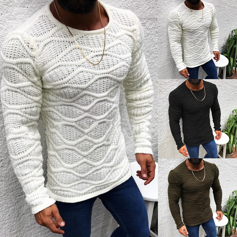 OLOME Men's Knitted Pullovers Sweater Solid Color O-neck Slim Fit Long Sleeve Jumpers Sweaters Men Casual Winter Warm Knitwear