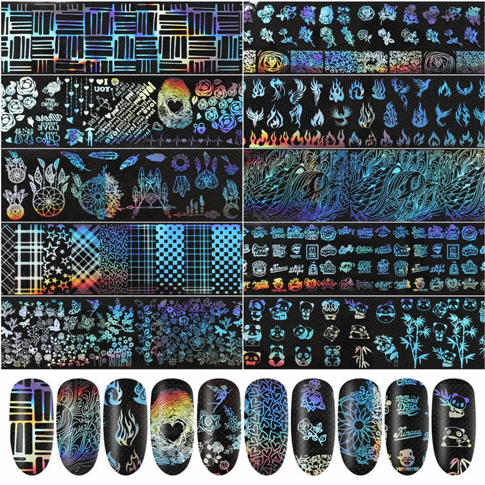 10PCS Nail Transfer Foil Holographic Flower Transfer Geometric Pattern Nails Art Sticker Laser Decals Manicure Decoration Tools