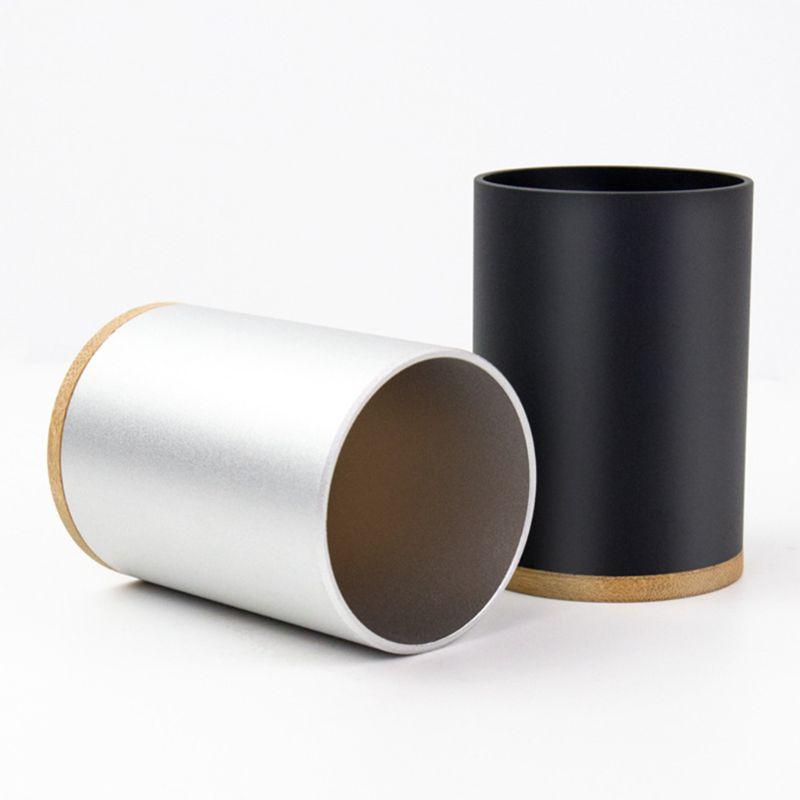 Aluminum Alloy Desk Pen Pencil Storage Organizer Cup Holder Pot Container School