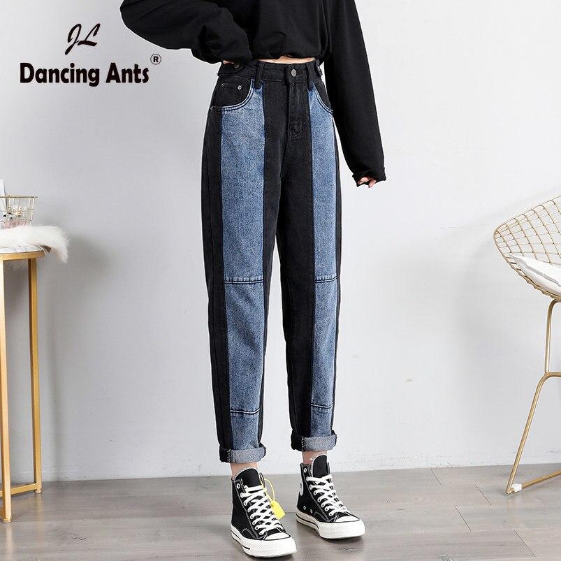 Women Jeans Ankle-Length Patchwork Color-block High Waist Button Harem Pants Female Fashion Loose Denim Trousers S-5XL