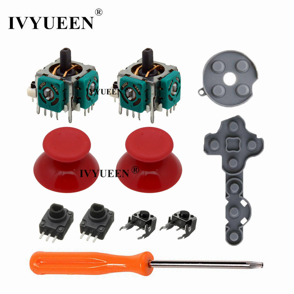 IVYUEEN For Xbox 360 Controller 3D Analog Stick Sensor Potentiometers + Thumb Sticks Cap + LT RT Trigger Switch Button Repair