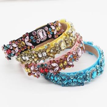 New Luxury Crystal Baroque Headband Colorful Geometric Rhinestone Handmade Hair Band Headwear Women Party Accessories