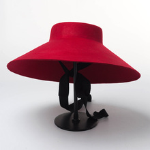 цена на 100%Wool Felt Women Hat Warm Flat Top Red Black Wide Brim Winter Sun Hat Lace Up Floppy Wedding Church Fedora Hat sombrero mujer
