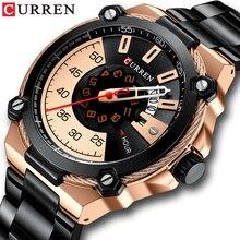 CURREN relojes de negocios de acero inoxidable para hombre, reloj militar de cuarzo, informal, con fecha automática