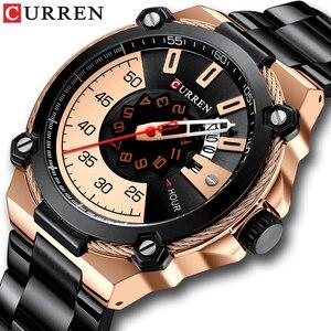Image 1 - Marka mężczyźni zegarki biznesowe ze stali nierdzewnej CURREN kwarcowy zegarek wojskowy moda przyczynowy mężczyzna zegar Auto data Relogio Homem