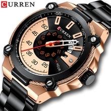 Marke Männer Edelstahl Business Uhren CURREN Quarz Militär Uhr Mode Kausale Männlich Uhr Auto Datum Relogio Homem