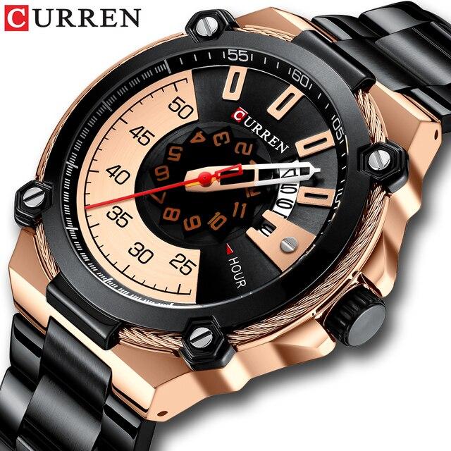 ブランド男性ステンレス鋼ビジネス腕時計currenクォーツ軍事腕時計ファッション因果男性時計自動日付レロジオhomem