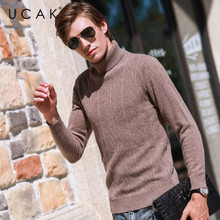 UCAK Brand Sweaters Men Turtlemen 2020 New Arrival Steetwear Striped Casual Autumn Pure Merino Wool Sweater Warm Pullover U3154