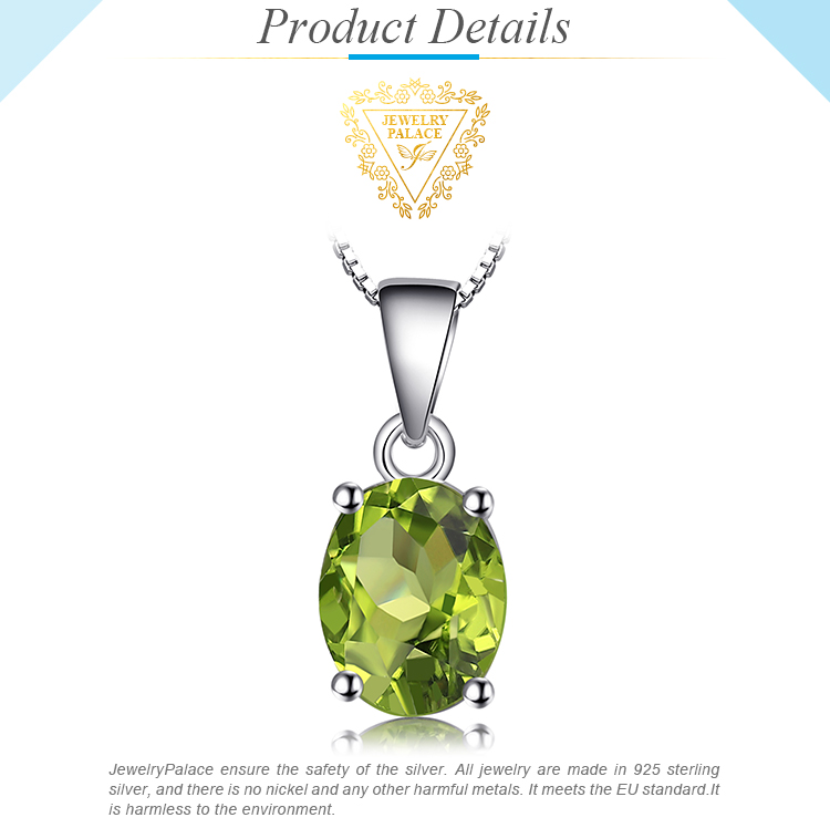 Hea64584fb64542bdb8b4369f6d688a39N Natural Peridot Pendant Necklace 925 Sterling Silver Gemstones Choker Statement Necklace Women silver 925 Jewelry Without Chain