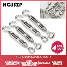 4 قطعة M4/M5/M6/M8/M10/M12 كُبشة وخطاف الفولاذ المقاوم للصدأ 316 قابل للتعديل سلسلة تزوير هوك تدوير سلك سلسلة حبل الموتر