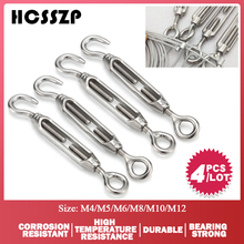 4 Pcs M4/M5/M6/M8/M10/M12 Eye Hook Turnbuckle Stainless Steel 316 Adjustable Chain Rigging Rotate Wire Rope Tensioner