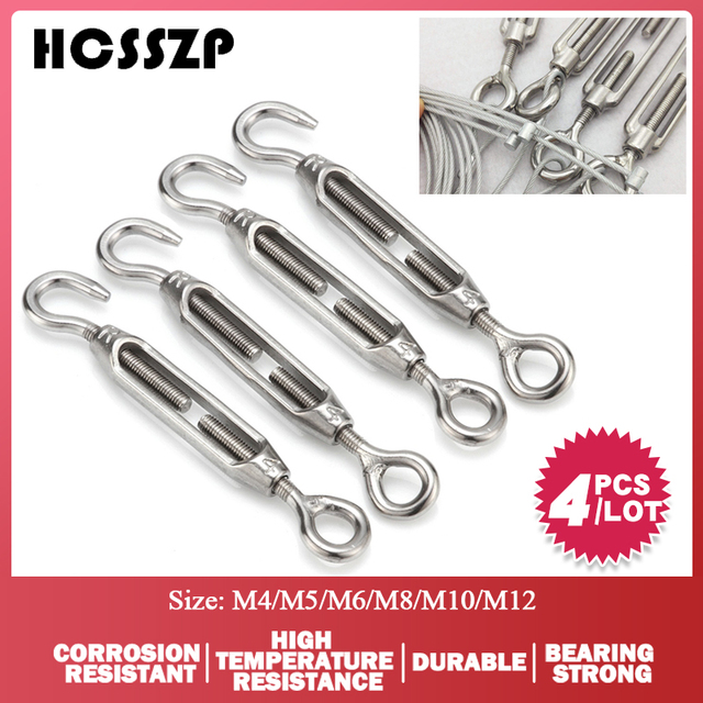 4 Pcs M4/M5/M6/M8/M10/M12 Eye Hook Turnbuckle Stainless Steel 316 Adjustable Chain Rigging Hook Rotate Chain Wire Rope Tensioner