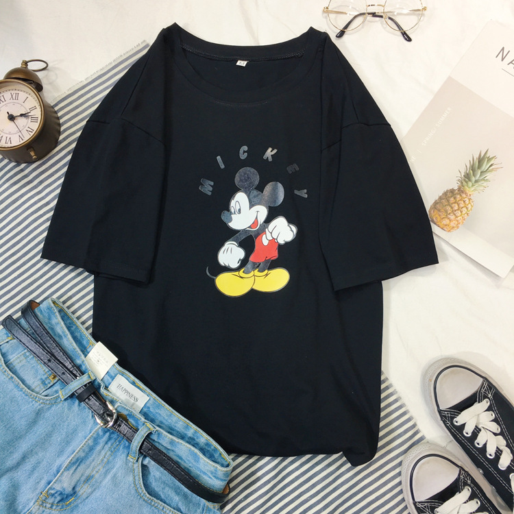 Disney T-Shirt Mickey-Mouse Minnie Short-Sleeve Fashion Summer Boy Male Lady