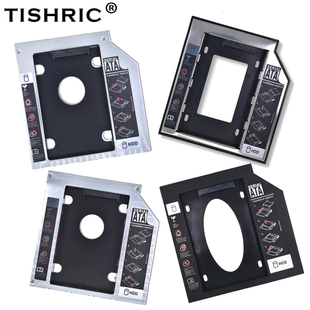 "Tishric Aluminum/Plastic 9.5/12.7mm SATA 3.0 2.5"" Universal HDD Caddy Case Enclosure Adapter DVD HDD Hard  Box For CD Optibay"