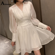 Aimsnug Lady Sexy Lantern Sleeve White Elegant V Neck Mini Dress 2019 Women Autumn A-line Party Dresses Fit and Flare Midi