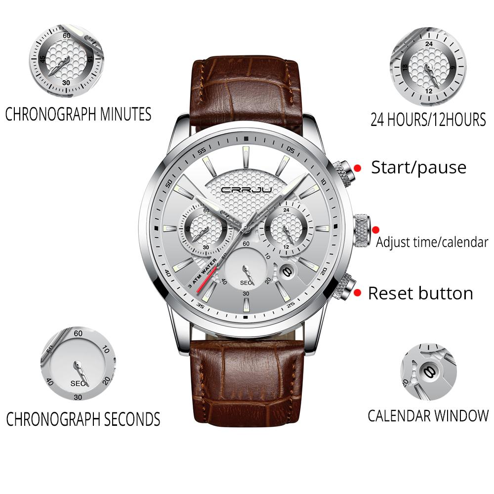 CRRJU, nuevos relojes de moda para hombre, relojes de pulsera analógicos de cuarzo, cronógrafo resistente al agua de 30M, reloj deportivo con fecha Relojes De Correa De Cuero para hombre 4