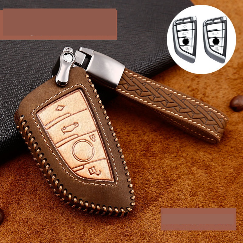 Crazy horse Leather Car Key Case Cover For BMW X1 X3 X5 X6 Series 1 2 5 7 F15 F16 E53 E70 E39 F10 F30 G30 Car key Fob Shell