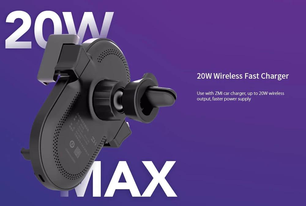 ZMI Kits 20W Wireless Car Charger Phone Holder WCJ10 Fast Charging For iPhone 11 Xiaomi Mi 9 Samsung 360 Degree Phone Holder