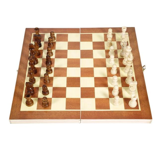 Ensemble en bois pliant jeu d'échecs échecs internationaux 34x34cm 6
