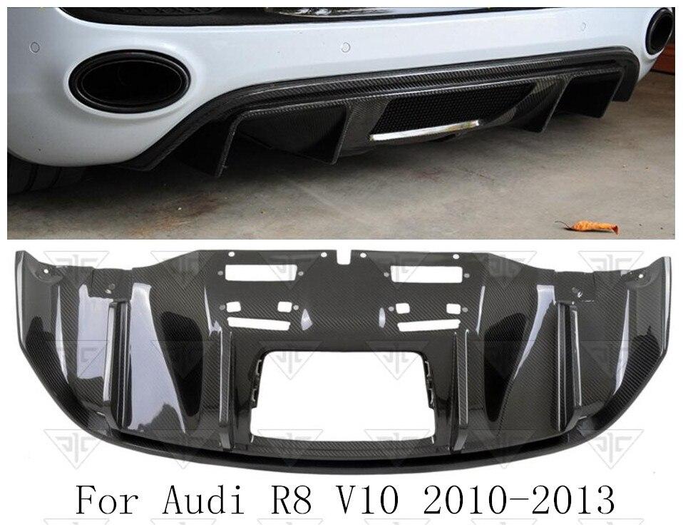De fibra de carbono parachoques trasero labio Auto difusor encaja para Audi R8 2010, 2011, 2012, 2013