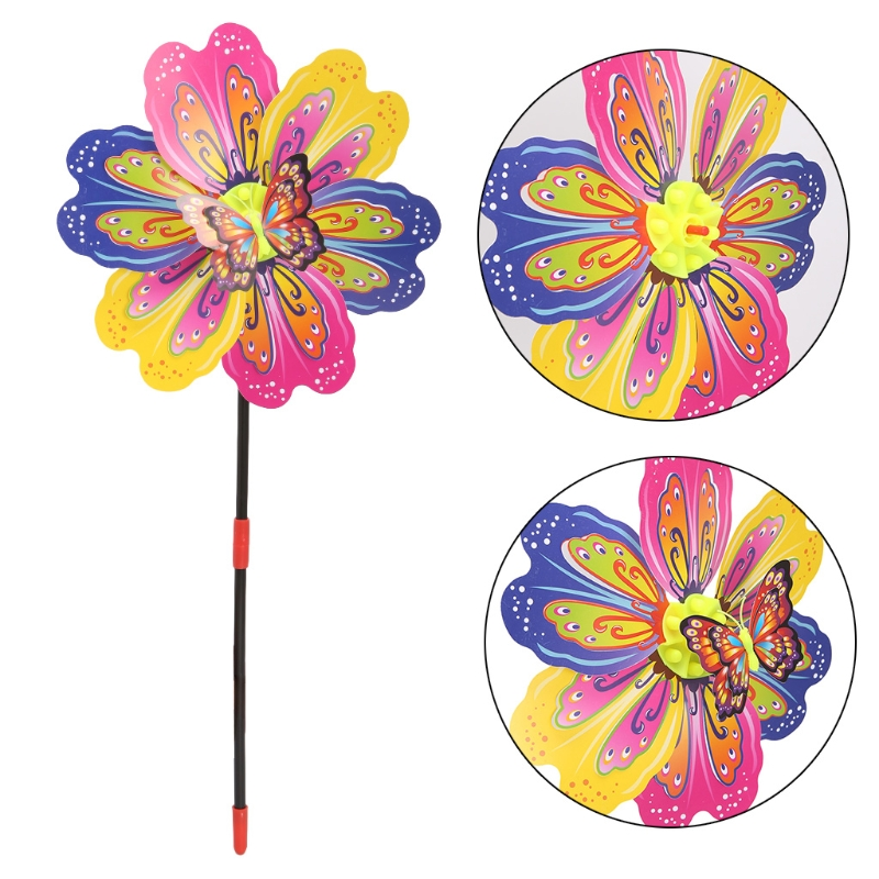 3D Butterfly Flower Windmill Wind Spinner Home Garden Yard Decoration Kids Toy 95AE