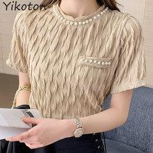 2021 Summer Clothes For Women Short Sleeve Tshirt Female Tops Basic Casual Lady Shirt Fashion Folds Kawaii Clothe T-Shirt O-Neck