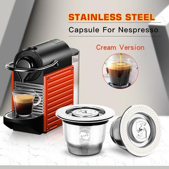 ICafilas do Nespresso wielokrotnego użytku wielokrotnego napełniania kapsułki Crema Espresso wielokrotnego użytku nowe wielokrotnego napełniania do Nespresso tanie i dobre opinie i Cafilas STAINLESS STEEL Wielokrotnego użytku Filtry Reusable Coffee Capsule Sliver 350ml Nespresso capsule 50ml