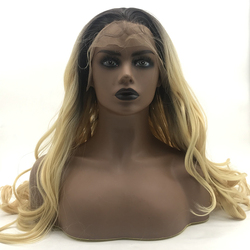 Fashion long synthetic lace front wig wholesale beauty long T color synthetic lace wig
