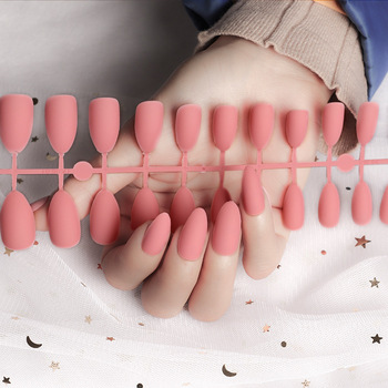 24Pcs/Set Full Cover Matte False Nail Tips Nail Art Manicure Matte Tips For False Fake Nails Extension For False Nails Tips image