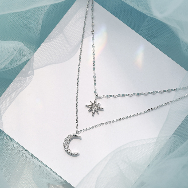 ANENJERY Double Layer Star Moon Clavicle Chain Necklace For Women Girl Cubic Zircon Necklace Gift S-N576