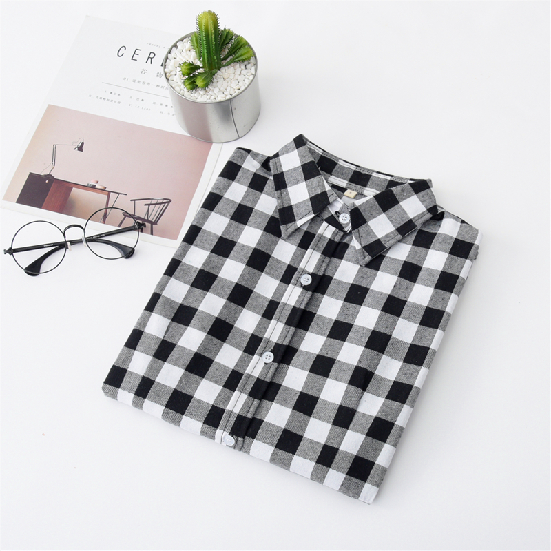 2020 New Women Blouses Brand New Excellent Quality Cotton 32style Plaid Shirt Women Casual Long Sleeve Shirt Tops Lady Clothes 14