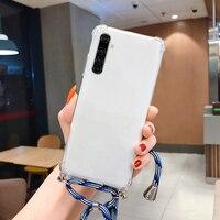 Funda ultradelgada de silicona con cordón para teléfono móvil Realme, carcasa de lujo con cuerda para collar, 7, 6, 5, 5i, 3, 2, X50, XT, X2, X Lite Pro, C11, C3