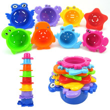 Набор из 8 предметов, игрушки для ванной, развивающие игрушки для детей, морские животные, ванная комната, водное штабелирование чашек, игрушки для ванной, пляжные игрушки для купания Y1028