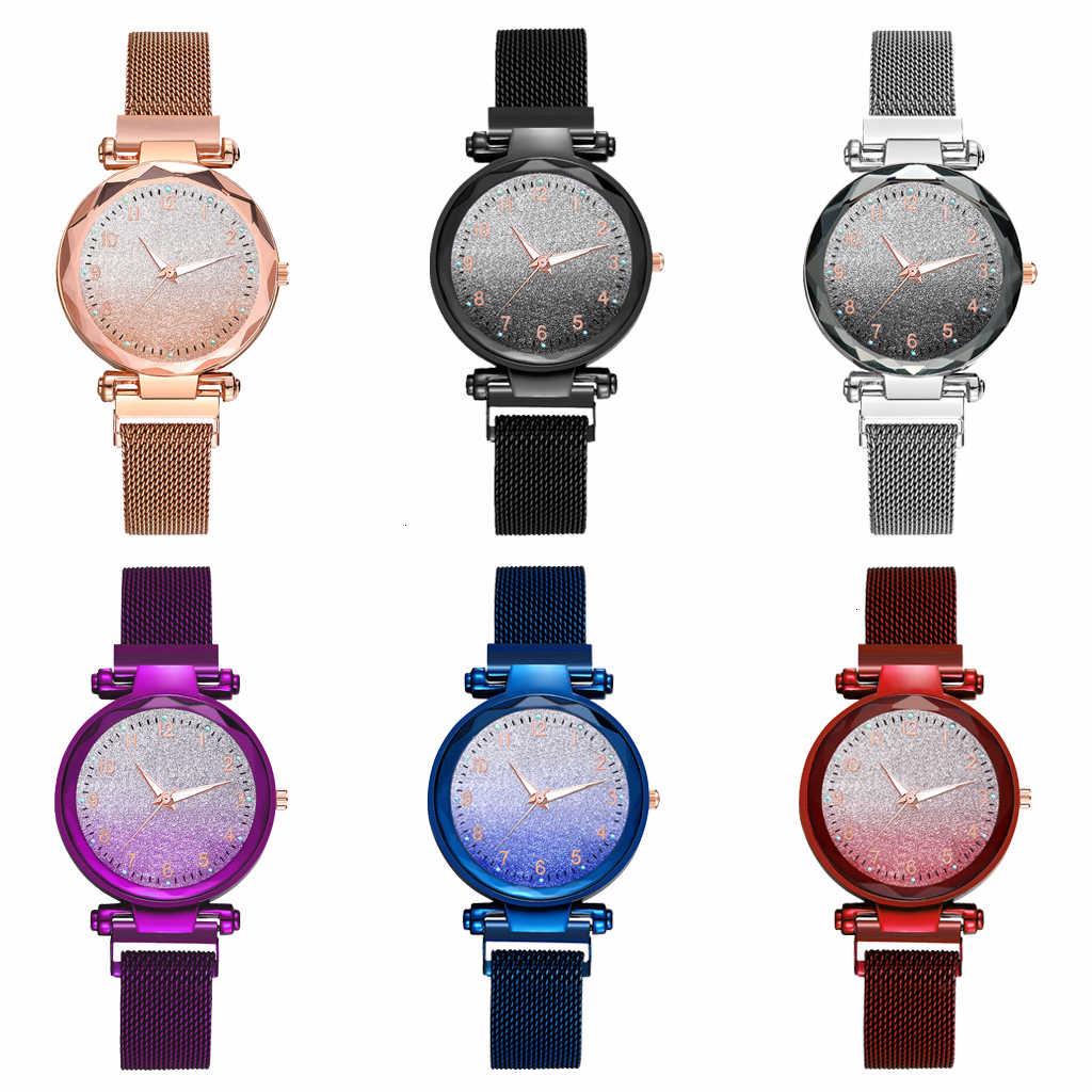 Mulheres Ímã Fivela Gradiente Estrelado Céu Relógio Números Arábicos Luminosos Assistir Senhoras de Luxo Relógio de Quartzo do Aço Inoxidável