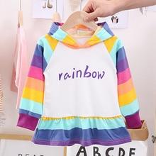 2019 Fashion Toddler Kids Baby Girl Dresses baby girl clothes Rainbow Letter Hooded Long Sleeve Skirt Dress  Robe jupe 104