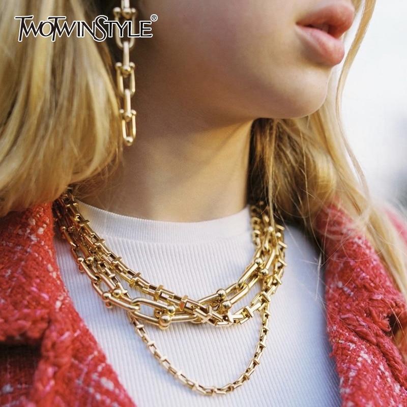 TWOTWINSTYLE Elegant Necklace For Women Tide Bracelet  Ear Chain Female 2020 Fashion New Accessory Streetwear
