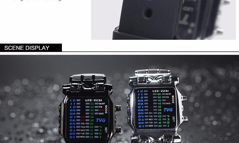 Pulseira de Borracha Relógios Homens LED Relógios